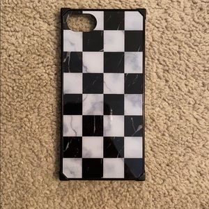 iPhone 6 marble checkered rectangle phone case